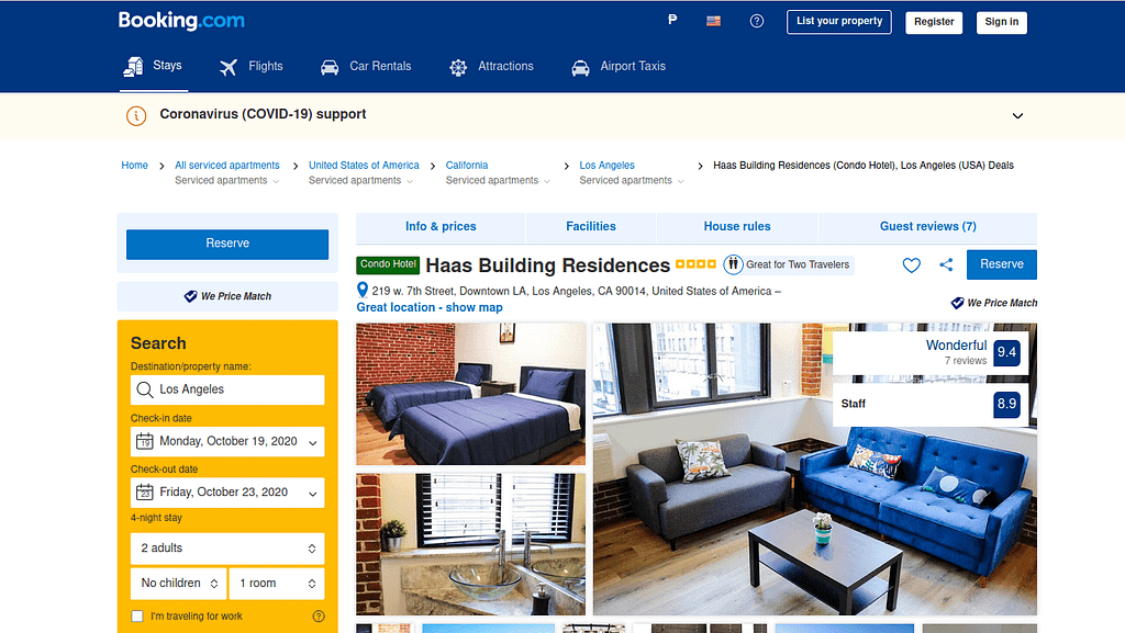 Booking.com search view